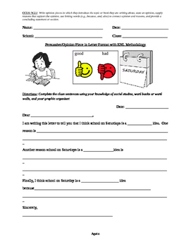 ENL Persuasive/Opinion Letter Format with Organizer and Rubric