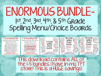 ENORMOUS-1st, 2nd, 3rd, 4th & 5th Spelling Menus BUNDLE!!!!