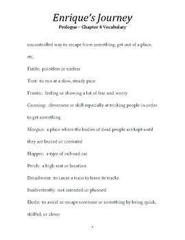 ENRIQUE'S JOURNEY:  Prologue - Ch. 4 Vocabulary List