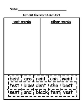 ENT word family activity