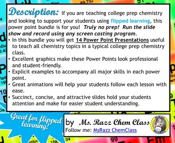 ENTIRE COLLEGE PREP CHEMISTRY POWER POINT SET!