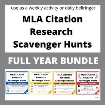 ENTIRE Year of WEEKLY Internet Scavenger Hunts for MLA Citation - BUNDLE
