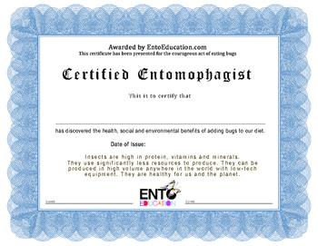 ENTOMOPHAGY CERTIFICATE