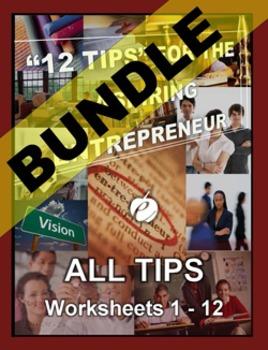 """ENTREPRENEURSHIP – """"12 Tips"""" for the Aspiring Entrepreneur (Worksheet Bundle)"""