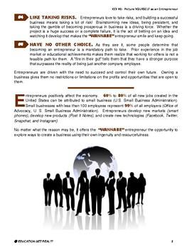 ENTREPRENEURSHIP - KEY 1 – Picture YOURSELF as an Entrepreneur