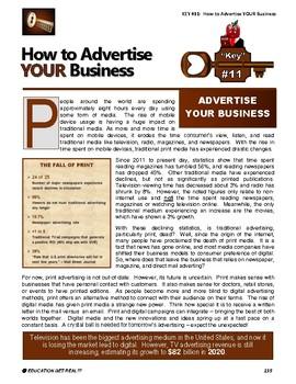 "ENTREPRENEURSHIP - KEY 11 – ""How to Advertise YOUR Business"""