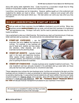 ENTREPRENEURSHIP -  KEY 6 – Start-Up Costs & Finance Options for YOUR Business