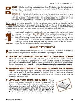 "ENTREPRENEURSHIP - KEY 9 – ""How to Market YOUR Business"""