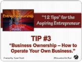"""ENTREPRENEURSHIP PPT - Tip #3: """"Business Ownership"""""""