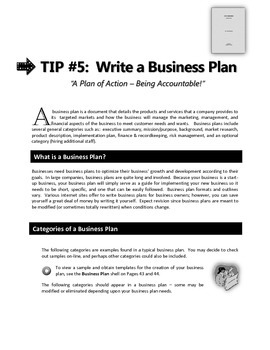 "ENTREPRENEURSHIP - Tip #5:  ""Write a Business Plan"""