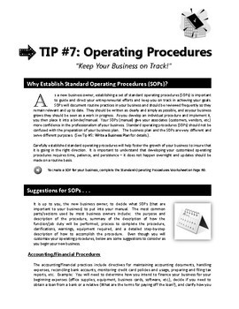 "ENTREPRENEURSHIP - Tip #7: ""Operating Procedures"" 3-IN-1 BUNDLE (""12 TIPS"")"