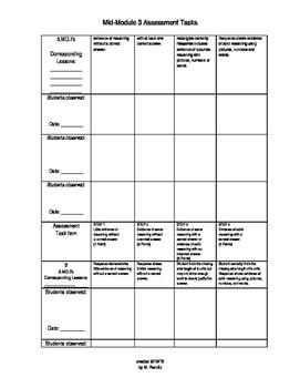 ENY Math Mid 3.4 Observation checklist
