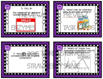 task cards for middle and high school biology life science  enzymes task cards for middle and high school biology life science biochemistry