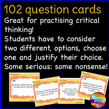 END of School Year Would You Rather? Critical Thinking Decision Making Cards