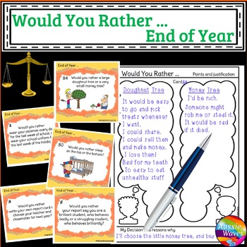 END of School Year Would You Rather? Critical Thinking Dec