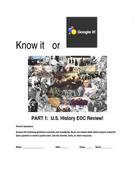 EOC/AP U.S. History Comprehensive Review: Know It or Google It Part 1