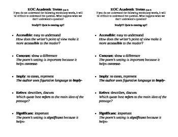 EOC Academic Vocabulary