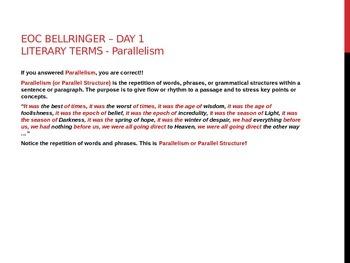 EOC BELLRINGER - PARALLELISM