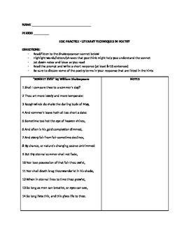 "EOC PRACTICE - LITERARY TECHNIQUES IN SHAKESPEARE'S ""SONNET XVIII"""