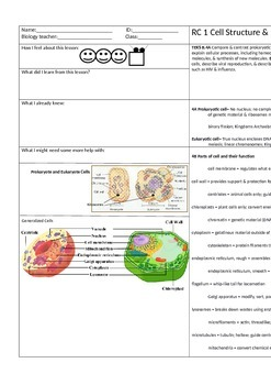 EOC STAAR Review-Cell Structure and Function Notes