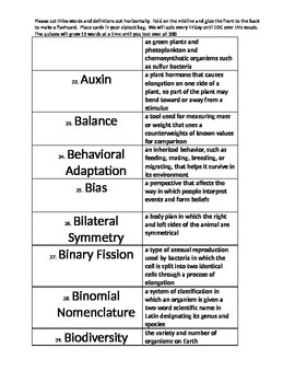 EOC review flashcards for biology