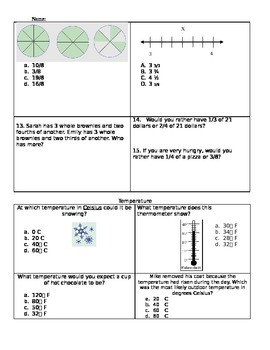 EOG Fraction and Temperature practice/assessment
