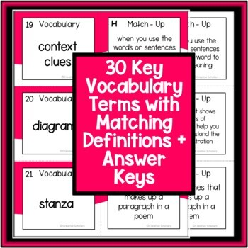 EOG Literacy Vocabulary Match-Up Game