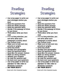 EOG Reading Strategies Half Page Bookmark