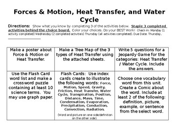 EOG Review Choice Board Review Assignment