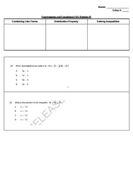 EOG Review Day 2 - Expressions and Equations