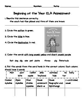 EOY 1st or BOY 2nd grade Assessment - ELA
