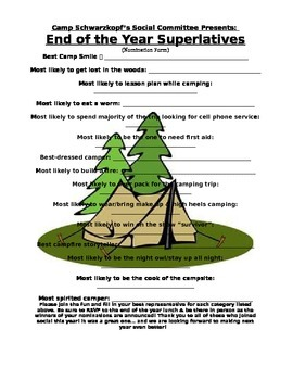 EOY Camp Superlatives Voting Ballot