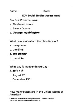 EOY Social Studies Assessment