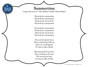 End of the Year Song Lyrics for Addams Family Theme