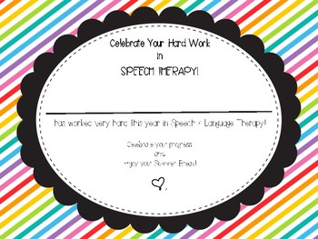 EOY Speech Therapy Certificate