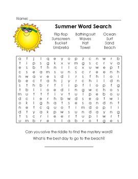 EOY Summer Word Search