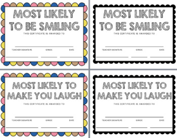 End of Year Superlative Certificates
