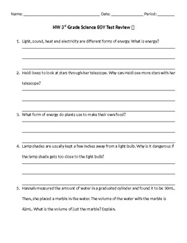 EOY science review- 3rd grade