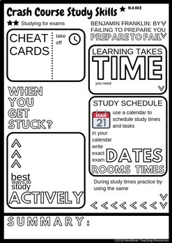 Crash Course Study Skills Visual Note-taking Worksheet Ep 7 Studying for tests