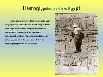 EPIC ANCIENT EGYPT - Hieroglyphics, background, samples & more - 25 fun slides