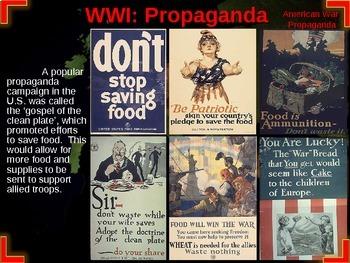 EPIC WORLD WAR I UNIT (PART 2 PROPAGANDA) interactive w/ rich text, visuals,