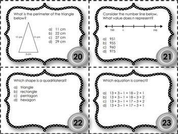 EQAO Math Task Cards - Grade 3 - November Set