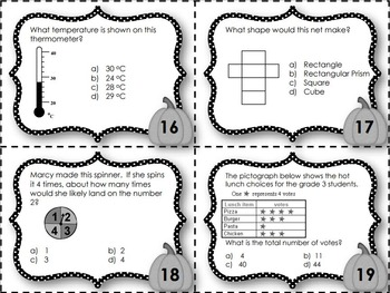 EQAO Math Task Cards - Grade 3 - October Set