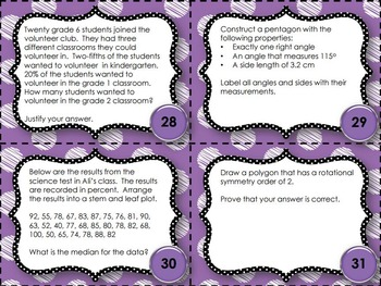 EQAO Math Task Cards - Grade 6 - April Set