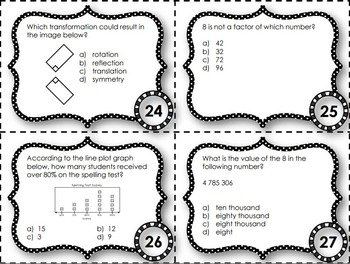 EQAO Math Task Cards - Grade 6 - December Set