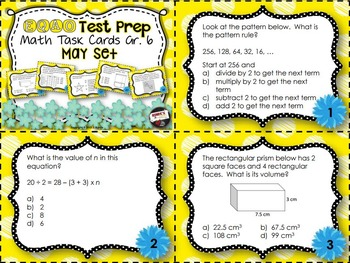 EQAO Math Task Cards - Grade 6 - May Set