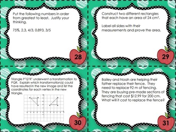 EQAO Math Task Cards - Grade 6 - September Set