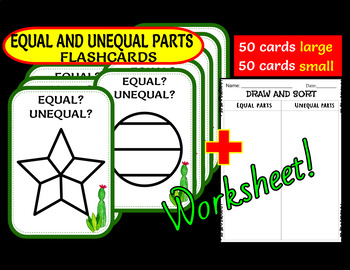 EQUAL AND UNEQUAL PARTS (OF A WHOLE) FLASHCARDS
