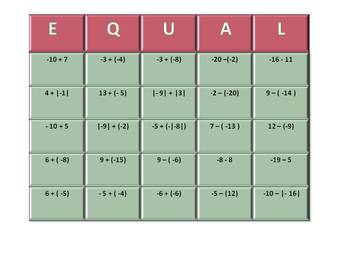 EQUAL-Adding and Subtracting Integers Game