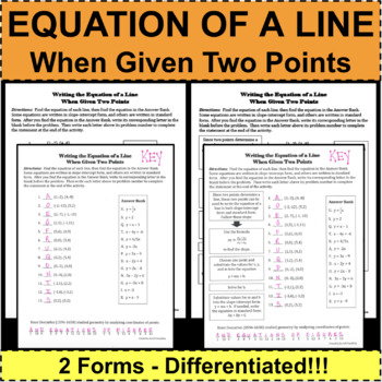 EQUATION OF A LINE when Given Two Points EQUATIONS Differentiated! 2 Forms!